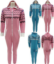 KIDS BOYS GIRLS UNISEX HOODED ONESIE ALL IN ONE JUMPSUIT PLAYSUIT SIZE 7-13 YEAR
