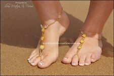 Barefoot Sandals Swarovski Crystals GOLDEN  ROSES Beach Bridal Foot Jewellery