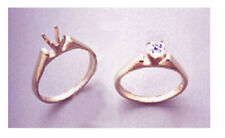 (4-7mm) Round 14kt White or Yellow Gold Cathedral Pre-Notched Ring (Size 6-8)