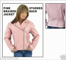 LADIES PINK STUDDED & BRAIDED LEATHER JACKET SIZES XSMALL TO 3XL NEW UL710/PNK