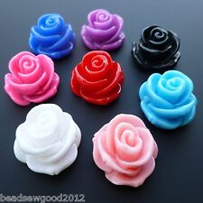 COLOURFUL FLAT BACK RESIN ROSE FLOWER BEADS 23mm JEWELLERY MAKING CRAFTS F26
