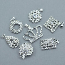 5x Rhinestone Crystal Diamante Silver Plated Pendants Charms Diamante Beads