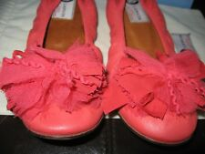 LANVIN Embroidered Flower Ballet Ballerinas Flats Shoes Salmon Coral Pink $580
