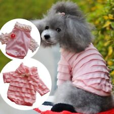 Pink Ruffle Brooch Cute Dog Shirts T-Shirt Dog Clothes Pet Apparel XS S M L XL