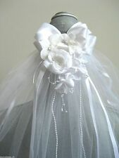 Bridal First Communion Veil Satin Bow Cluster Flowers Rose Pearl Headpiece WHITE