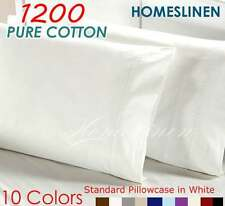 LUXURY 48 × 73CM PURE COTTON 1200TC STANDARD PILLOWCASE X2 Multi-Colors