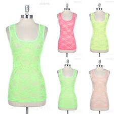 Full Floral Lace Racerback Tank Top See Through Scoop Neck Layering Sleeveless