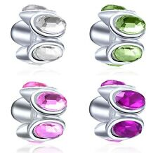 1PC Elite Cz Silver European Bead Oval Lights Charm with Colored Crystal