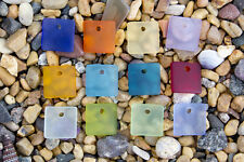 6 x Beach Sea Glass Curved Pendant Beads Flat Square 17.5mm Pick Your Color! P22