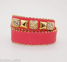 JUICY COUTURE Paved Pyramid Gold Studs Double Wrap Leather Bangle Bracelet  Cuff