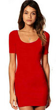 women basic short sleeve plain slim long top mini dress E558