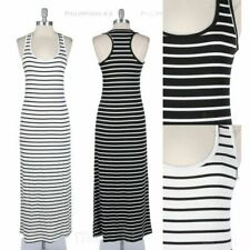 Striped Maxi Tank Sun Dress Full Length Long Sleeveless Racerback Spandex BLACK