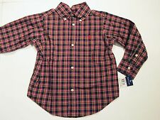 New with tag Ralph Lauren Kids Boys Black Red Plaid Polo Poplin Dress Shirt 4