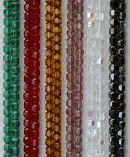 100 Czech Glass 6mm Faceted Cathedral Beads Christmas Green Red Topaz Amethyst