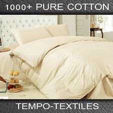SB/DB/QB/KB Ivory 1000TC Egyptian Cotton Fitted Flat Sheet Quilt Cover Case Set
