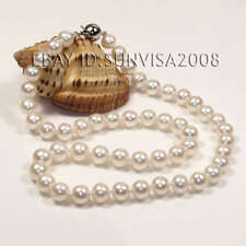 "genuine AAA Beautiful 8-9mm 17"" White freshwater cultured Pearl & Necklace 14k"