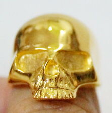 BEAUTIFUL! GENUINE BRASS 18K YELLOW GOLD PLATED KEITH SKULL RING - FOR MEN/WOMEN