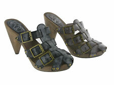 Womens Fashion Wooden Clog Heels Mules Sandals Buckle Strappy Shoes Size UK 3-8
