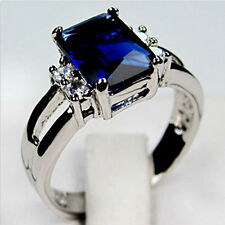 Jewelry New Ring Size 6/7/8/9/10 Blue Sapphire Lady's 10K White Gold Filled Gift