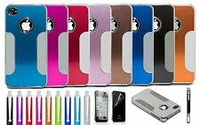 For iPhone 4 4S Aluminum Chrome Steel Hard Cover Case w/ Screen Protector + Pen