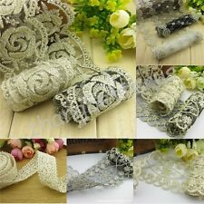 White Black Flower Lace Fabric Trimmings Sewing For Clothes Dress / Doll 1-4M