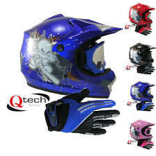 Childrens Kids MOTOCROSS Helmet Goggles & Gloves NINJA pit bike quad bmx