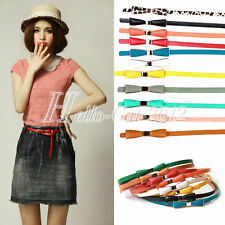 Womens Girls Cute Candy Color Bowknot Faux PU Leather Thin Skinny Waistband Belt