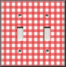 Light Switch Plate Cover - Gingham Check Pattern - Red - Home Decor