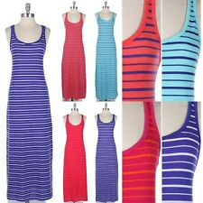 Multi Striped Racerback Sleeveless Tank Maxi Sundress Scoop Neck Full Length