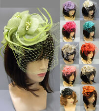 Cocktail Flower Headband Veil Sinamay Feather Kentucky Church Derby Wedding Hat