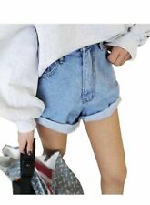 sh31 Celebrity Style Oversized Baggy Rolled-up Boyfriend Denim Jean Shorts