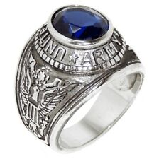 316 Stainless Steel Mens Deep Blue Sapphire CZ ARMY Ring SIZE 9,10,11,12,13