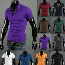 Vintage Men's Casual Slim-Fit Tattoo Graphic Printed Design Polo T-Shirts #2678