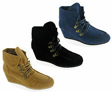 Womens Simply Be RRP £35 Fashion Casual Wedge Boots Faux Suede E or EEE  UK 4-8