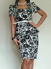 New Womens Ladies Black Cream Dress Pencil Skirt Peplum Top  10 12 14 16 18 20