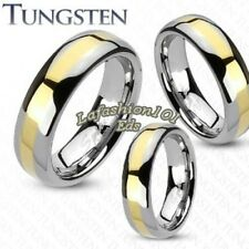 Comfort fit Tungsten 18K Gold IP Stripe Polished Wedding Band Ring SIZE 5-12