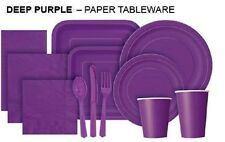 DEEP PURPLE Tablecovers Napkins Party Bags Streamers Plates Cups Decorations