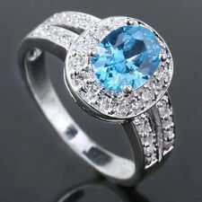 hot Women Oval CZ S925 Sterling Silver Ring Size Cocktail Birthday Gift
