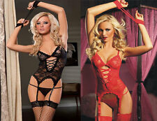 Women's Sexy Black Red Lace-up Gatered Clubwear Sleepwear Lingerie G-String Set