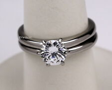 Stainless Steel 8mm Prong Set CZ Solitaire Wedding Ring Band Set Size 5 6 7 8 9