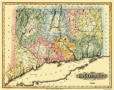 Old State Map - Connecticut - Lucas 1823 - 29.06 x 23