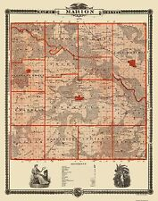 Old County Maps - MARION COUNTY IOWA (IA) LANDOWNER MAP BY CHAS. SHOBER 1875