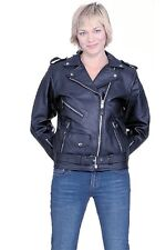 LADIES HEAVY DUTY NAKED LEATHER MOTORCYCLE JACKET XSMALL TO 4XL NEW 725-01