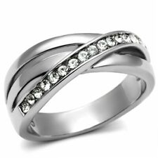 Clear CZ Womens Tarnish Free Stainless Steel Wedding Band SIZE 5,6,7,8,9,10
