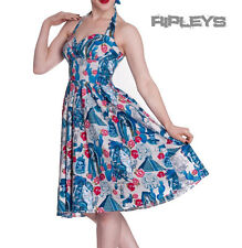 HELL BUNNY Vintage DRESS Blue Mexico AZTEC 50s Rockabilly Flowers All Sizes