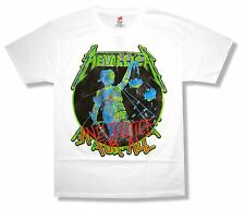 """METALLICA """"JUSTICE FOR ALL"""" NEON GRN LOGO WHITE T-SHIRT NEW NWT OFFICIAL ADULT"""