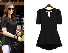 Fashion Women's Peplum Tops Frill Puff Sleeve Fitted Shirt Clubwear Blouse Black