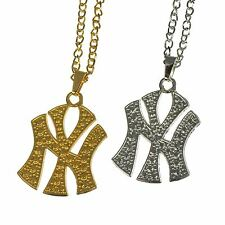 Plated Single Crystal NY NYC New York Hip Hop Rapper Chain Necklace