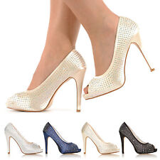 BRAND NEW WEDDING PROM PARTY EVENING DIAMANTE HIGH HEELS PEEP TOE SHOES SIZE 3-8