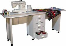 Double Folding Mobile Desk / wheels Sewing Craft Table Sewing Table - New